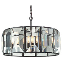 ELK Lighting Garrett 6 Light Pendant in Oil Rubbed Bronze with Clear Crystal Shade 31567/6