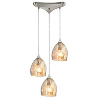 ELK 31595/3 Marchland 3 Light 13 inch Satin Nickel Pendant Ceiling Light in Triangular Canopy