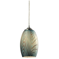 ELK Lighting Tidewaters 1 Light Pendant in Satin Nickel with Seafoam Glass 31620/1