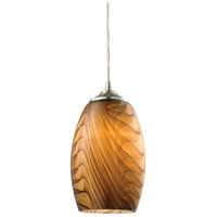 ELK Lighting Tidewaters 1 Light Pendant in Satin Nickel with Amber Glass 31630/1