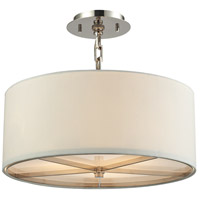 ELK Lighting Selma 3 Light Pendant in Polished Nickel with White Fabric Shade 31650/3
