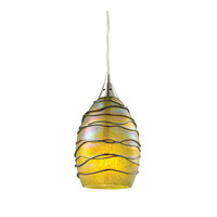 ELK Lighting Vines 1 Light Pendant in Satin Nickel with Chartreuse Glass 31658/1