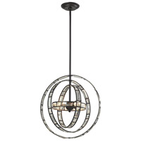 Crystal Orbs 3 Light 17 inch Oil Rubbed Bronze Pendant Ceiling Light, DIMMABLE