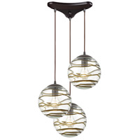ELK 31753/3 Vines 3 Light 12 inch Oil Rubbed Bronze Pendant Ceiling Light in Triangular Canopy