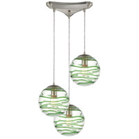 ELK 31763/3 Vines 3 Light 12 inch Satin Nickel Pendant Ceiling Light in Triangular Canopy photo thumbnail