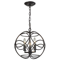 Chandette 3 Light 14 inch Oil Rubbed Bronze Pendant Ceiling Light