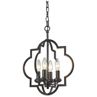 Chandette 4 Light 14 inch Oil Rubbed Bronze Pendant Ceiling Light