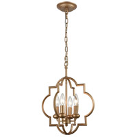 Chandette 4 Light 14 inch Matte Gold Chandelier Ceiling Light
