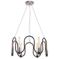 Continuum 6 Light 24 inch Silvered Graphite,Polished Nickel Chandelier Ceiling Light