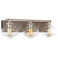 Kelsey 3 Light 27 inch Weathered Zinc,Polished Nickel Vanity Wall Light