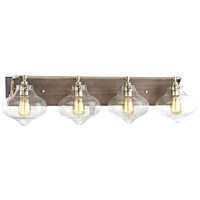 Kelsey 4 Light 37 inch Weathered Zinc,Polished Nickel Vanity Wall Light