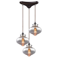 ELK 31955/3 Kelsey 3 Light 17 inch Oil Rubbed Bronze Pendant Ceiling Light in Triangular Canopy