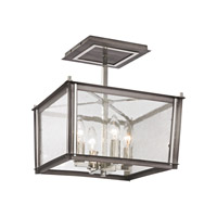 Elk Lighting Ridgeview 4 Light Semi Flush Mount in Weathered Zinc,Polished Nickel 31961/4