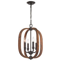 Wood Arches 4 Light 16 inch Oil Rubbed Bronze,Red Oak Chandelier Ceiling Light