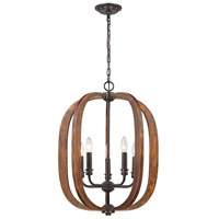 Wood Arches 5 Light 20 inch Oil Rubbed Bronze,Red Oak Chandelier Ceiling Light