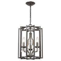 Belgique 3 Light 13 inch Malted Rust with Oil Rubbed Bronze Chandelier Ceiling Light