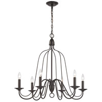 Monroe 6 Light 30 inch Oil Rubbed Bronze Chandelier Ceiling Light