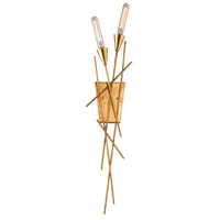 Sticks 2 Light 8 inch Antique Gold Leaf ADA Sconce Wall Light