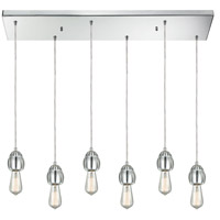 ELK 32221/6RC Socketholder 6 Light 32 inch Polished Chrome Mini Pendant Ceiling Light in Rectangular Canopy Rectangular