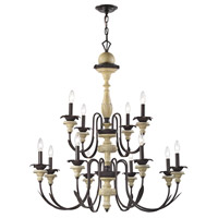 Channery Point 12 Light 37 inch Oil Rubbed Bronze,Aged Cream Chandelier Ceiling Light