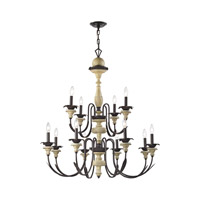 ELK 32221/8+4 Channery Point 12 Light 37 inch Oil Rubbed Bronze,Aged Cream Chandelier Ceiling Light