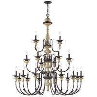 Channery Point 21 Light 46 inch Oil Rubbed Bronze,Aged Cream Chandelier Ceiling Light