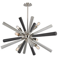 Solara 6 Light 44 inch Polished Nickel,Dark-Light Gray Washed Wood Chandelier Ceiling Light
