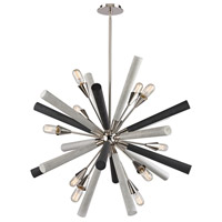 Solara 10 Light 37 inch Polished Nickel,Dark-Light Gray Washed Wood Chandelier Ceiling Light