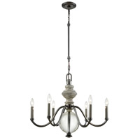 Neo Classica 6 Light 27 inch Aged Black Nickel with Weathered Birch Chandelier Ceiling Light