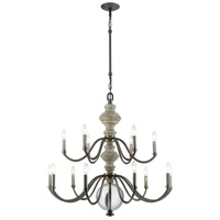 ELK 32315/9+6 Neo Classica 15 Light 36 inch Aged Black Nickel with Satin Nickel Chandelier Ceiling Light
