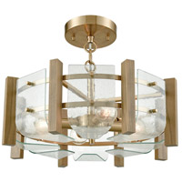 Vindalia 4 Light 17 inch Satin Brass with Wood Slats Semi Flush Mount Ceiling Light