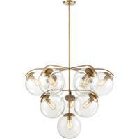 ELK 32354/10 Collective 10 Light 36 inch Satin Brass Chandelier Ceiling Light