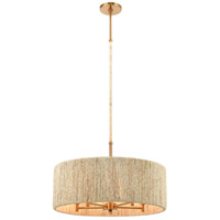 ELK 32412/5 Abaca 5 Light 24 inch Satin Brass with Abaca Rope Pendant Ceiling Light