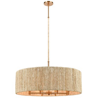 Abaca 8 Light 33 inch Satin Brass with Abaca Rope Pendant Ceiling Light