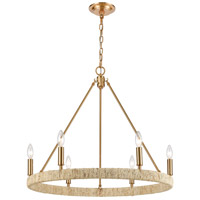 ELK 32415/6 Abaca 6 Light 27 inch Satin Brass Chandelier Ceiling Light