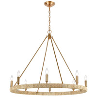 ELK 32416/8 Abaca 8 Light 36 inch Satin Brass Chandelier Ceiling Light
