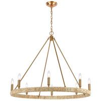ELK 32416/8 Abaca 8 Light 36 inch Satin Brass Chandelier Ceiling Light