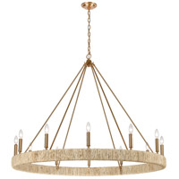 ELK 32417/12 Abaca 12 Light 48 inch Satin Brass Chandelier Ceiling Light