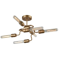 Transit 6 Light 16 inch Matte Gold Semi Flush Mount Ceiling Light