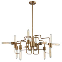 Transit 12 Light 29 inch Matte Gold Chandelier Ceiling Light