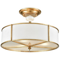 ELK 33052/3 Ceramique 3 Light 16 inch Antique Gold Leaf Semi Flush Mount Ceiling Light