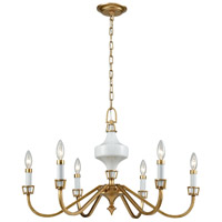 ELK 33053/6 Ceramique 6 Light 30 inch Antique Gold Leaf Chandelier Ceiling Light