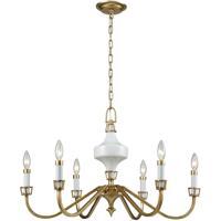 ELK 33053/6 Ceramique 6 Light 30 inch Antique Gold Leaf Chandelier Ceiling Light