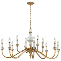 ELK 33054/12 Ceramique 12 Light 39 inch Antique Gold Leaf Chandelier Ceiling Light