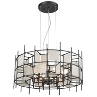 ELK 33145/6 Spanish Alabaster 6 Light 24 inch Dark Graphite Pendant Ceiling Light