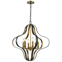 ELK 33164/6 Janis 6 Light 27 inch Aged Bronze with Aged Brass Pendant Ceiling Light
