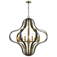 ELK 33165/9 Janis 9 Light 36 inch Aged Bronze with Aged Brass Chandelier Ceiling Light