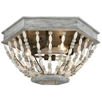 ELK 33191/3 Summerton 3 Light 18 inch Washed Gray with Malted Rust Flush Mount Ceiling Light