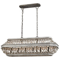 Summerton 6 Light 39 inch Washed Gray and Malted Rust Billiard Island Ceiling Light