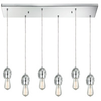 ELK 33220/6RC Socketholder 6 Light 32 inch Polished Chrome Mini Pendant Ceiling Light in Rectangular Canopy Rectangular